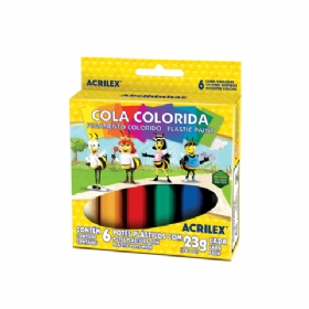 COLA COLORIDA C/ 6 CORES ACRILEX